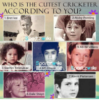 Memes, Sachin Tendulkar, and According: WHO IS THE CUTEST CRICKETER  ACCORDING TO YOu?  1.Bret lee  2.Ricky Ponting  5.Ab de villiers  3.Sachin Tendulkar  4MS Dhoni por  4.MS DhoniO  ortzwikr  7.Kevin Pietersern  6.Dale Steyn Who is the most cutest😍😋?