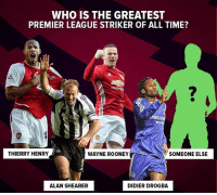 Henry and Shearer top two for me 👌🏽🤔⚽️🔥: WHO IS THE GREATEST  PREMIER LEAGUE STRIKER OF ALL TIME?  2  AMSUN  mobi  THIERRY HENRY  WAYNE ROONEY  SOMEONE ELSE  ALAN SHEARER  DIDIER DROGBA Henry and Shearer top two for me 👌🏽🤔⚽️🔥
