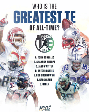 You make the call. The greatest TE of all time is...🤔  🗓: #NationalTightEndsDay is SUNDAY! https://t.co/NEJYS8N5zX: WHO IS THE  GREATEST TE  OF ALL-TIME?  udde  NATIONAL  DAY  A. TONY GONZALEZ  B. SHANNON SHARPE  C. JASON WITTEN  D.ANTONIO GATES  E.ROB GRONKOWSKI  CHARGERS  F. GREG OLSEN  G. OTHER  88  84 You make the call. The greatest TE of all time is...🤔  🗓: #NationalTightEndsDay is SUNDAY! https://t.co/NEJYS8N5zX