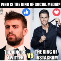 Instagram, Memes, and Social Media: WHO IS THE KING OF SOCIALMEDIA?  THE KING OF THE KING OF  TWITTER  VS  INSTAGRAM Vote for the king of social media! 😜 🔻FOOTBALL APP ➡️ LINK IN OUR BIO! 😎