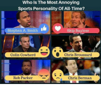 """Skip Bayless, Sports, and Stephen: Who is The Most Annoying  Sports Personality of All Time?  Stephen A. Smith  Skip Bayless  Colin Cowherd Chris Broussard  """"a chris Berman  Rob Parker AND GO.....?"""