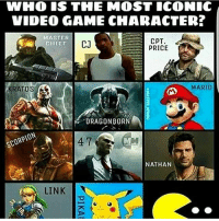 Destiny, Halo, and Instagram: WHO IS THE MOST ICONIC  VIDEO GAME CHARACTER?  MASTER  CHIEF  CJ  CPT.  PRICE  RATOS  MARIO  DRAGONBORN  SCORPIO  NATHANS  LINK DOUBLE TAP!❤ Follow @gamiing.memes (me) for more content!👍 - Via: ? - Partners 🔥@gamiing.nation 💪@get.noscoped 😎@gamerpost.ig 🤓@jaxramse - Use GAMIINGMEMES 👍😎 - ❌Tags (ignore)❌ callofduty battlefield halo xbox battlefield1 cod mwr iw gamingmemes battlefield playstation ps4 gaming pc overwatch destiny memes instagram videogames blackops2 rainbowsixsiege pcgaming xboxone codmemes gta gtav csgo