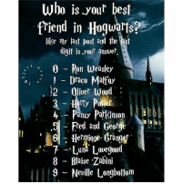Gryffindor, Memes, and Slytherin: who is your best  friend in Hogwarts?E  like my last post and the  digit is your answer  1 0 Ron Weasley  -s, 1 Draco Mattay  12 liver Wood  rty Paller  Pansy Parkinson  Fred and George  6 Hermigre. Granger  Luna Lovegood  8 Blaise Zabini  9 Neville Longbottom Like my recent and comment down below! 💖⚡ harrypotter thechosenone theboywholived hermionegranger ronweasley gryffindor bestfriends thegoldentrio dracomalfoy slytherin theboywhohadnochoice hogwarts ministryofmagic jkrowling harrypotterfilm harrypottercasts potterheads potterheadforlife