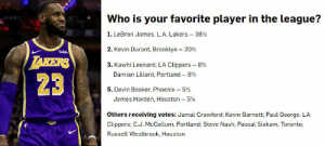 """James Harden, Kevin Durant, and Los Angeles Lakers: Who is your favorite player in the league?  1. LeBron James, L.A. Lakers 38%  2. Kevin Durant, Brooklyn 20%  wish  TAKERS  3. Kawhi Leonard, LA Clippers  8%  Damian Lillard, Portland 8%  23  5. Devin Booker, Phoenix 59  James Harden, Houston 5%  Others receiving votes: Jamal Crawford; Kevin Garnett; Paul George, LA  Clippers; C.J. McCollum, Portland; Steve Nash; Pascal Siakam, Toronto  Russell Westbrook, Houston For the 3rd year in a row, LeBron was voted """"Favorite Player"""" among NBA rookies.  LeBron: 2012, 2017, 2018, 2019 KD: 2014, 2015, 2016 Kobe: 2010, 2013  Full NBA Rookie Survey: https://t.co/Eujqzri4A0 https://t.co/magGZUuiSy"""