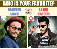 Bollywood, Indianpeoplefacebook, and Arjun: WHO IS YOUR FAVORITE  RANVEER  ARJUN  SINGH  KAPOOR  laughing colours.com Bollywood Heartthrobs.. <3
