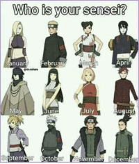 So who?: Who is your sensei?  nuar  February  April  July  May  June  August  tem  vember Dece So who?