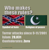 9/11, Dank, and Zero: Who makes  these rules  Symbol of hate Religion of peace  Terror attacks since 9-11/2001  Islam: 28,031  Confederates: Zero