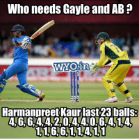 Memes, 🤖, and Who: Who needs Gayle and AB?  Harmanpreet Kaurlast23balls:  4, 6, 6:4 42 044 064514-  1166,114)11 😍😍