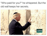 """Memes, Http, and Trump: Who paid for you?"""" he whispered. But the  old wall keeps her secrets  CSPAN  C-span.or9 <p>Trump and the wall memes are a hot commodity right now. Buy fast but be prepared to sell quickly. via /r/MemeEconomy <a href=""""http://ift.tt/2rbh8c4"""">http://ift.tt/2rbh8c4</a></p>"""