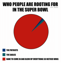 Bane, Philadelphia Eagles, and Memes: WHO PEOPLE ARE ROOTING FOR  IN THE SUPER BOWL  @NFL MEMES  THE PATRIOTS  THE EAGLES  BANE TO COME IN AND BLOW UP EVERYTHING SO NEITHER WINS Accurate