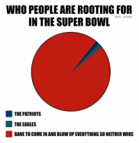 Bane, Philadelphia Eagles, and Memes: WHO PEOPLE ARE ROOTING FOR  IN THE SUPER BOWL  @NFL MEMES  THE PATRIOTS  ■ THE EAGLES  BANE TO COME IN AND BLOW UP EVERYTHING SO NEITHER WINS 😔😔😭😭