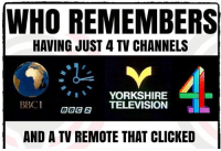 tv remote: WHO REMEMBERS  HAVING JUST 4 TV CHANNELS  YORKSHIRE  TELEVISION  BBC1  AND A TV REMOTE THAT CLICKED