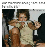 Memes, Band, and 🤖: Who remembers having rubber band  fights like this?  THE SEAY MEMEMAKER Get @socialboltapp, shows your IG stalkers, ghosts, and unfollowers 👊👊