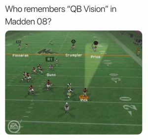 """Nfl, Sports, and Vision: Who remembers """"QB Vision"""" in  Madden 08?  Crumpler  Finneran  Price  R1  Dunn  Vick  FA  SPORTS  43 Those were the days..."""