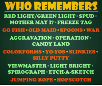 Memes, 🤖, and Red: WHO REMEMBERS  RED LIGHT/ GREEN LIGHT. SPUD.  MOTHER MAY I? FREEZE TAG  GO FISH. OLD MAID. SPOONS WAR  AGGRAVATION. OPERATION.  CANDY LAND  COLORFORMS YO-YOS. SLINKIES  SILLY PUTTY  VIEW MASTER LIGHT BRIGHT.  SPIROGRAPH ETCH-A-SKETCH  JUMPING ROPE. HOPSCOTCH Remember when?