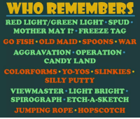 Candy, Memes, and 🤖: WHO REMEMBERS  RED LIGHT/GREEN LIGHT. SPUD.  MOTHER MAY I? FREEZE TAG  GO FISH OLD MAID. SPOONS WAR  AGGRAVATION OPERATION  CANDY LAND  COLORFORMS YO YOS SLINKIES.  SILLY PUTTY  VIEW MASTER LIGHT BRIGHT  SPIROGRAPH ETCH A SKETCH  JUMPING ROPE HOPSCOTCH Who remembers some of these?  #Rememberthis?  ms