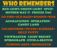 jumping rope: WHO REMEMBERS  RED LIGHT/GREEN LIGHT. SPUD.  MOTHER MAY I? FREEZE TAG  GO FISH OLD MAID. SPOONS WAR  AGGRAVATION OPERATION  CANDY LAND  COLORFORMS YO YOS. SLINKIES.  SILLY PUTTY  VIEW MASTER LIGHT BRIGHT  SPIROGRAPH ETCH A SKETCH  JUMPING ROPE HOPSCOTCH