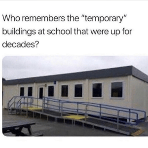 "School, Who, and Remember: Who remembers the ""temporary""  buildings at school that were up for  decades? Y'all remember these? 👇🤔 https://t.co/PompFF17k3"