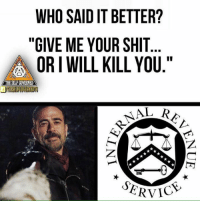 """Stolen meme 😎  The Self Governed deserve credit for their creativity.: WHO SAID IT BETTER?  """"GIVE ME YOUR SHIT  ORI WILL KILL YOU.""""  THESELFCOYERNED  ERVIC Stolen meme 😎  The Self Governed deserve credit for their creativity."""
