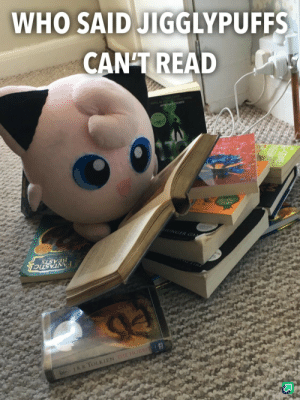 Enthusiastic Reader: WHO SAID JIGGLYPUFFS  CAN'T READ  LL OREA R  O  HUNGER GA  BEASTS  FANTASTICL  k JRRTOLKIEN THHE HOBBIT Enthusiastic Reader
