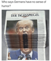 Memes, 🤖, and Who: Who says Germans have no sense of  humor?  DER TAGESSPIEGEL 😂🤷🏽♂️ follow @thebookof90s @demarcusknows