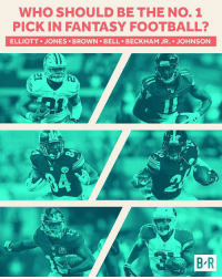 Who's the first pick?: WHO SHOULD BE THE NO. 1  PICK IN FANTASY FOOTBALL?  ELLIOTT JONES BROWN BELL BECKHAM JR. JOHNSON  To  RDINAL  B R Who's the first pick?