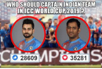 LIVE POLL: Who Should Captain Indian Team In ICC World Cup 2019 ?  (Y) - Virat Kohli <3 - MS Dhoni ?  VOTE NOW !!: WHO SHOULD CAPTAIN INDIAN TEAM  IN ICC WORLD CUP 2019  28609  35281 LIVE POLL: Who Should Captain Indian Team In ICC World Cup 2019 ?  (Y) - Virat Kohli <3 - MS Dhoni ?  VOTE NOW !!