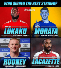 Arsenal, Chelsea, and Everton: WHO SIGNED THE BEST STRIKER?  skores  MAN UTD  CHELSEA  LUKAKU MORATA  FROM EVERTON /  85M  FROM REAL MADRID / £80M  U FINCH  USM FARM  umbro  SportPe  umbro  L FINCH  USM FARM  SportPesa  natics  umbr  EVERTON  ARSENAL  ROONEY LACAZETTE  -FROM MAN UTD / UNDISCLOSED FEE  FROM LYON / C53M Who? 🤔