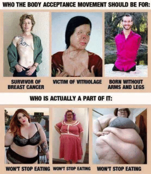 """Dank, Memes, and Target: WHO THE BODY ACCEPTANCE MOVEMENT SHOULD BE FOR:  SURVIVOR OF VICTIM OF VITRIOLAGE BORN WITHOUT  BREAST CANCER  ARMS AND LEGS  WHO IS ACTUALLY A PART OF IT:  WON'T STOP EATING WON'T STOP EATING  WON'T STOP EATING """"My weight doesn't define me."""" by SpiceEyes MORE MEMES"""