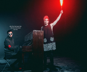 Fire, Target, and Tumblr: who the fuck gave hin  that he is too smoll  for fire hellastydia:   tyler joseph is frightened by his friend's fire sticks