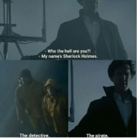 Sherlock: Who the hell are you?!  My name's Sherlock Holmes.  The detective  The pirate. Sherlock