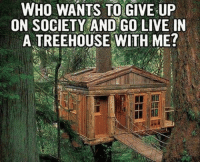 Sounds good to me😄: WHO WANTS TO GIVE UP  ON SOCIETY AND GO LIVE IN  A TREEHOUSE WITH ME? Sounds good to me😄