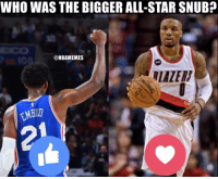 Take your pick...: WHO WAS THE BIGGER ALL-STAR SNUB?  @NBAMEMES Take your pick...