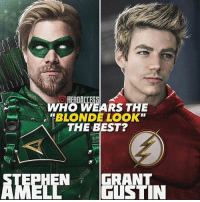 "If I'm being honest with myself, I could take it or leave it. Yeah it'd be pretty cool if they looked like this, but I still think they're both doing a great job in their roles.👌 But who looks better, Grant Gustin or Stephen Amell? ~ Lopro⚡️ (dope artwork by @spdrmnkyofficial ): WHO WEARS THE  ""BLONDE LOOK""  THE BEST?  N GRANT If I'm being honest with myself, I could take it or leave it. Yeah it'd be pretty cool if they looked like this, but I still think they're both doing a great job in their roles.👌 But who looks better, Grant Gustin or Stephen Amell? ~ Lopro⚡️ (dope artwork by @spdrmnkyofficial )"