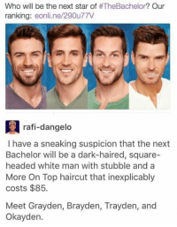 Haircut, Bachelor, and Square: Who will be the next star of  #TheBachelor? Our  ranking  eonli.ne/290u77V  a rafi-dangelo  I have a sneaking suspicion that the next  Bachelor will be a dark-haired, square-  headed white man with stubble and a  More On Top haircut that inexplicably  costs $85.  Meet Grayden, Brayden, Trayden, and  Okayden. Okayden Amphetameme pt. III