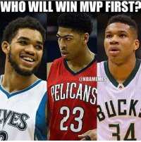 Davis for me. What'd you guys think? 👀🔥: WHO WILL WIN MVP FIRST?  @NBAMEMES  PELICAN  UCKA  23  WES Davis for me. What'd you guys think? 👀🔥