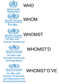 Depression, World, and Who: WHO  World Health  Organization  World Health  Organizationn  For Men  World Health WHOMST  Organizationn  For Men with  Suicidal Tendencies  World Health  Organization  For Men with  Suicidal Tendencies  and Depression  World Health  rganzsto WHOMST'D'VE  For Men with  Suicidal Tendencies  and Depression and  Voluntary Euthanasia <p>World Health Organization for Men with Suicidal Tendencies and Depression and Voluntary Euthanasia</p>