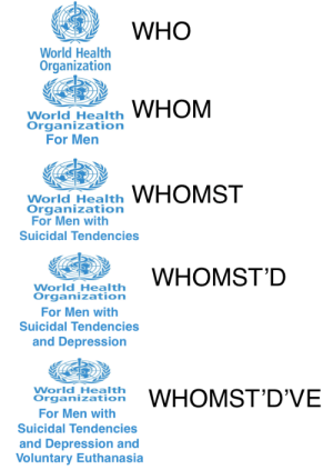 Depression, World, and Who: WHO  World Health  Organization  World Health  Organizationn  For Men  World Health WHOMST  Organizationn  For Men with  Suicidal Tendencies  World Health  Organization  For Men with  Suicidal Tendencies  and Depression  World Health  rganzsto WHOMST'D'VE  For Men with  Suicidal Tendencies  and Depression and  Voluntary Euthanasia