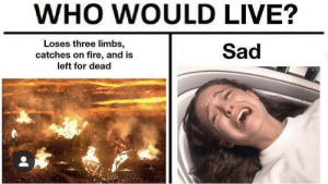Fire, Live, and Dank Memes: WHO WOULD LIVE?  Loses three limbs,  catches on fire, and is  left for dead  Sad Hmmmm tough call🤔