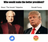 "This meme is relevant again: Who would make the better president  Sheev ""The Senate"" Palpatine  Donald Trump This meme is relevant again"