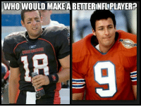 Canon, Game, and Tough: WHO WOULD MAKEA BETTERINFLPLAYER? Paul Crewe has a canon, incredible mobility, and dead on accuracy but Bobby Boucher is averaging like 5 sacks a game. It's a tough one. 🤔🤔🤔