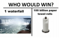 Anaconda, Fall, and Meme: WHO WOULD WIN?  100 billion paper  towel rolls  2  1 waterfall Alright, listen up. On average, a square foot of paper towel can absorb 1.5oz of water. In one roll of BOUNTY HUGE ROLL there is 80.6sq ft of paper. That means one roll of BOUNTY HUGE ROLL can hold 120.9oz of water, but lets just round it to 121. 121oz of water per roll of BOUNTY HUGE ROLL x 100 billion rolls means 12.1 TRILLION ounces, or about 357,839,709,370 liters of water can be absorbed. Now, the largest water fall ever (victoria falls) produces 550 million liters of water-minute. The paper towels would win, but only for 650.6176534 minutes. Enjoy your almost 11 hours without water, Zambia. This meme is probably why I'm still single 😕