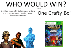 Dank, Memes, and Minecraft: WHO WOULD WIN?  4k60fpsHDR  A skilled team of intellectuals, writers,  and programmars creating award  winning narratives  One Crafty Boi  ХВОХ 360  MINECRAFT  STORY MODE  A Telltale Ganes Series  THE COMPLETЕ  ADVENTURE  10  TELLTALE Who Would Win by 4k60fpsHDR FOLLOW 4 MORE MEMES.