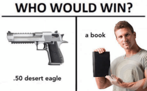 Book, Eagle, and Who: WHO WOULD WIN?  a book  ftt  .50 desert eagle Lets try it out!