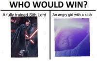 Angry Girl: WHO WOULD WIN?  A fully trained Sith LordAn angry girl with a stick