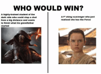 """Posted by Reynol Del Bosque on """"Just Jedi Memes"""": WHO WOULD WIN?  A highly-trained student of the  A F*cking scavenger who just  dark side who could stop a shot  realised she has the Force  from a big distance and wants  to finish what his grandfather  started Posted by Reynol Del Bosque on """"Just Jedi Memes"""""""