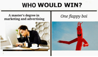 Memes, Masters, and 🤖: WHO WOULD WIN?  A master's degree in  marketing and advertising  One flappy boi