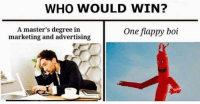 Masters, Boi, and Marketing: WHO WOULD WIN?  A master's degree in  marketing and advertising  One flappy boi