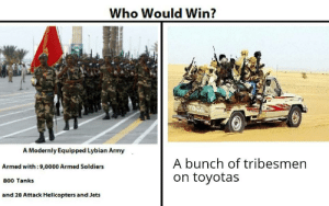 CHAD: Who Would Win?  A Modernly Equipped Lybian Army  A bunch of tribesmen  Armed with:9,0000 Armed Soldiers  on toyotas  800 Tanks  and 28 Attack Helicopters and Jets CHAD