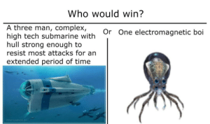 Complex, Period, and Time: Who would win?  A three man, complex,  high tech submarine with  hull strong enough to  resist most attacks for an  Or One electromagnetic boi  extended period of time Submarine